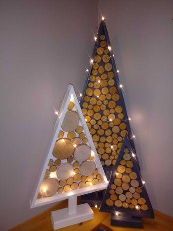choinka z plastrów drewna*** ozdoby świąteczne***dekoracje