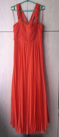 Długa morelowa brzoskwiniowa koralowa sukienka wesele plisowana Oasis