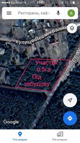 Участок 0.5г с хвойными деревьями в макаровском райне киевской области