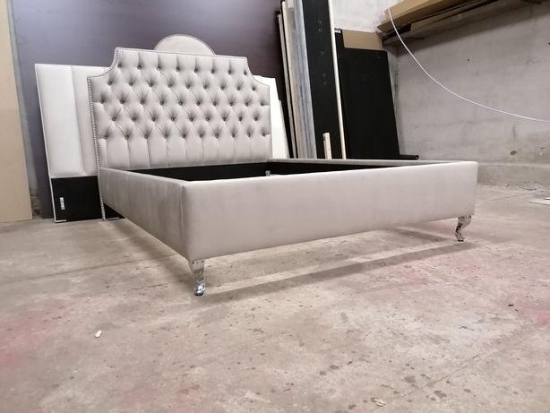 Łóżko tapicerowane pikowane 140x200 NA STANIE welur pinezki GLAMOUR