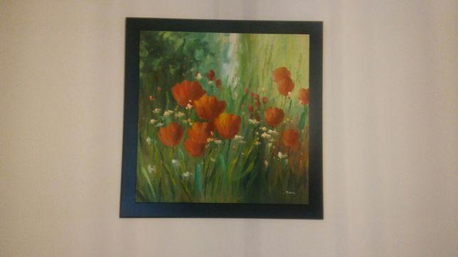 Duży z ramką obraz olejny z kwiatami - tulipanami.
