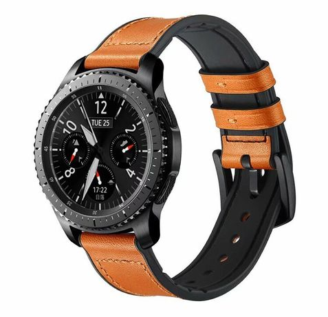 Bracelete de couro e silicone para Xiaomi Mi Watch, TicWatch Pro 3, Realme Watch S Pro, Oneplus Watch