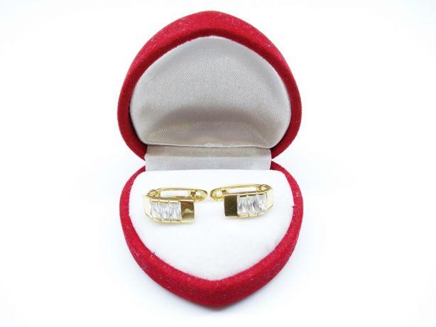 Złote kolczyki z prostokątnymi cyrkoniami p.585 3,29g