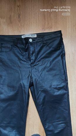 Spodnie skinny r44 czarny połysk wyszczuplające