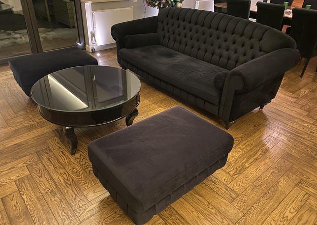 Sofa Diva ARIS 3,5 BF + 2 pufy 60x90 + 2 wałki - w tkaninie czarnej