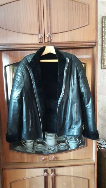 Мужская новая зимняя куртка 100% кожа