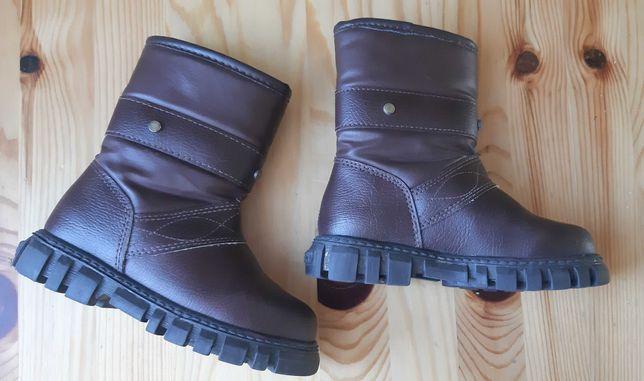 Buty zimowe dziewczęce skórzane r 26