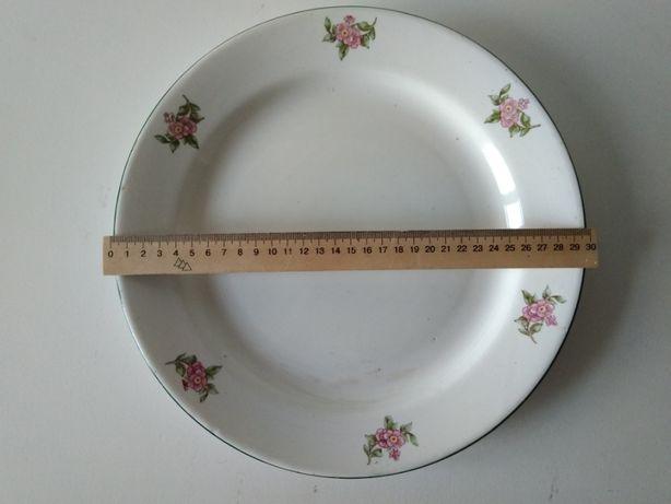 сервировочное блюдо большая круглая тарелка с цветочками 30 см СССР
