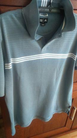Koszulka polo Adidas niebiesko-szara M-L polówka krótki rękaw