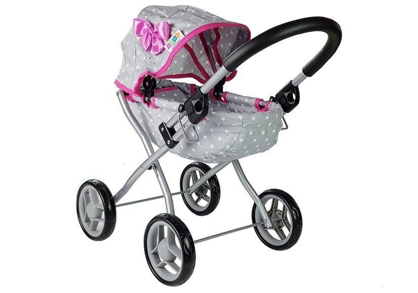 Wózek dla lalek Alice szaro-różowy w gwiazdki 5249 Zawiercie - image 1