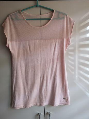 Bluzka koszulka krótki rękaw pudrowy róż house s/m 36/38 siatka