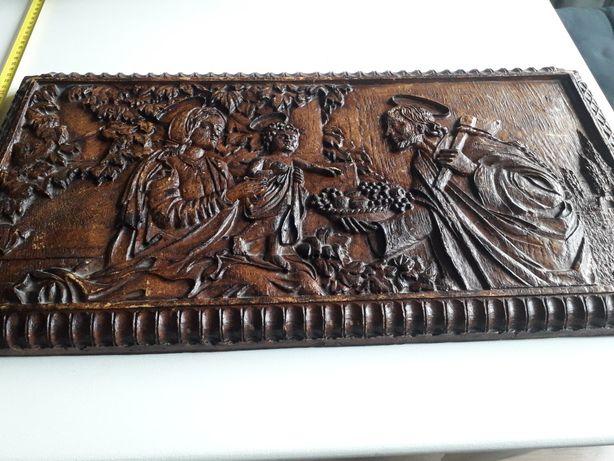 Stary obraz płaskorzeźba w drewnie święta rodzina