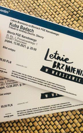 2 Bilety,koncert Kuby Badacha 13.08. Warszawa