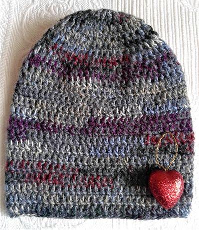 Szydełkowa czapka melanżowa, beanie - szara