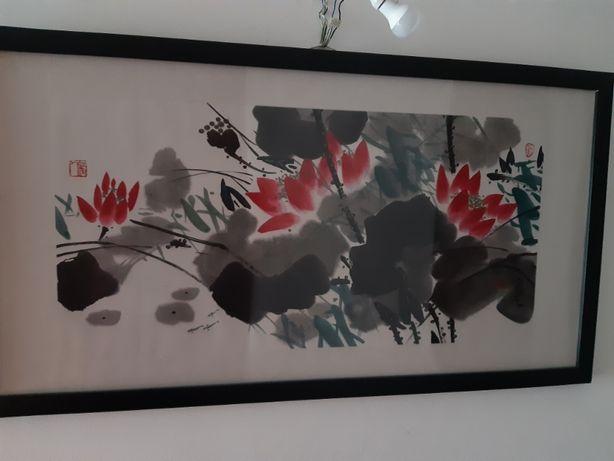 Pintura em papel de seda