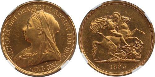 złoto 1893 Queen Victoria Wielka Brytania Two 2 Pounds Double Soverei