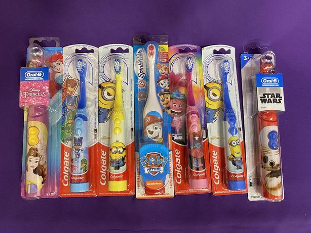Дитячі електричні зубні щітки Colgate, Oral-B та Spinbrush