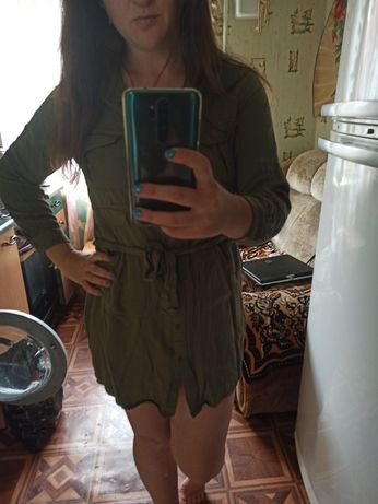 Платье рубашка цвет хаки
