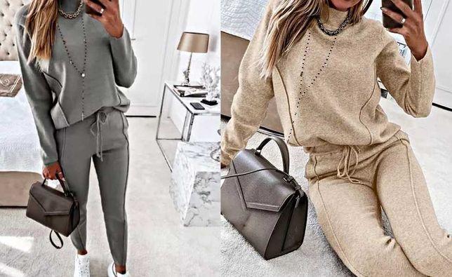 Szary beżowy zestaw bluzka sweterek + spodnie S - 3XL