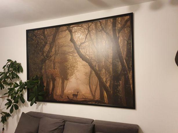 Bardzo duży obraz 200x140 sarna natura las jeleń czarna rama nowy