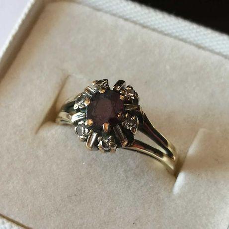Cudowny pierścionek złoto 585.Diamenty.Rubin.roz 16