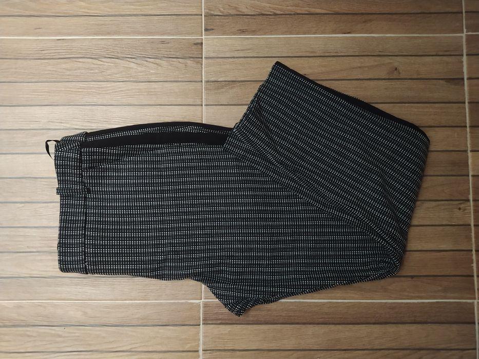 eleganckie spodnie z lampasem kratka pepitka czarno biale Sokółka - image 1