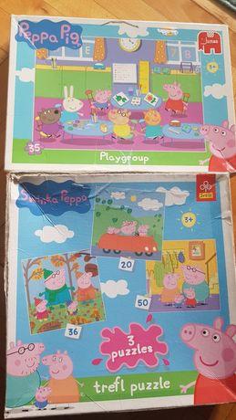 Zestaw Puzzle Świnka Peppa 3+ Trefl Jumbo jesień, przedszkole, sklep