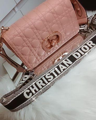 Torebka christian Dior pudrowy róż pasek eko skóra