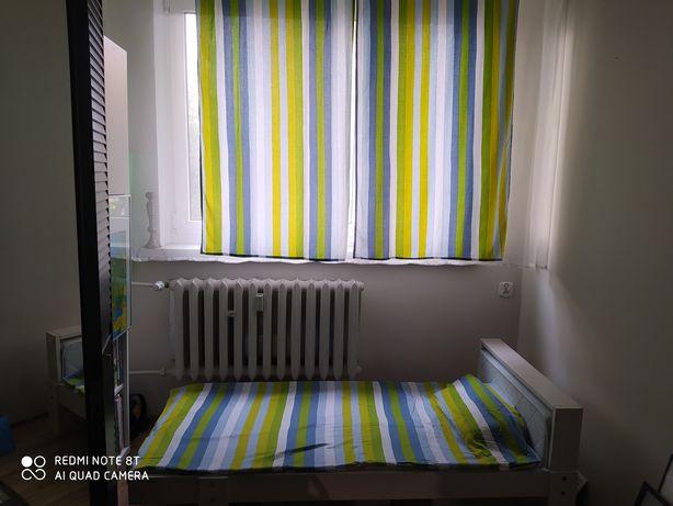 Całość zasłony i poszewki IKEA Barnslig pasy paski zielone niebieski