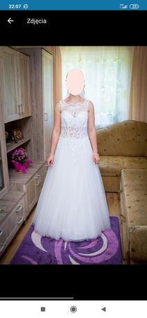 Piekna biala suknia slubna 38