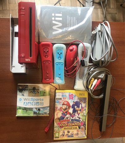 Nintendo Wii completa, 2comandos + Wii Sports + Mário Jogos Olímpicos