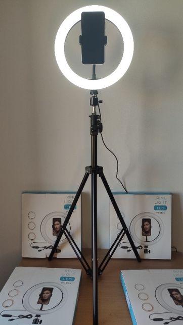 Ring Light com Tripé Extensível Até 210 cm e Anel 26 cm