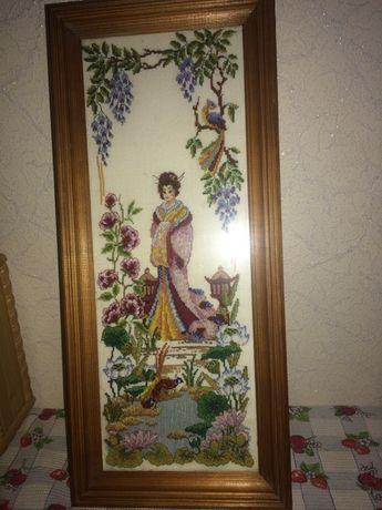 Картина вышивка крестиком японская девушка:дл.52 см,шир. 23см, 500 гр