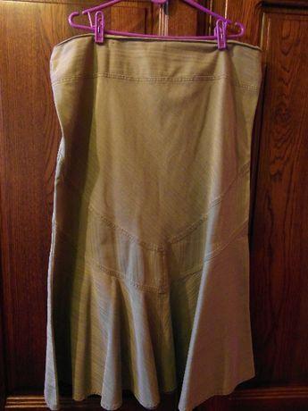 Dluga dżinsowa spódnica jasno zielona