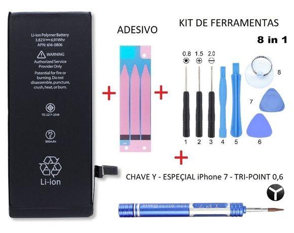Kit Bateria iPhone 7 Plus + Adesivo + kit de ferramentas + Chave Y 0,6