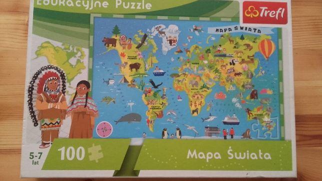 Puzzle Mapa Świata 100 elementów 5-7 lat TREFL