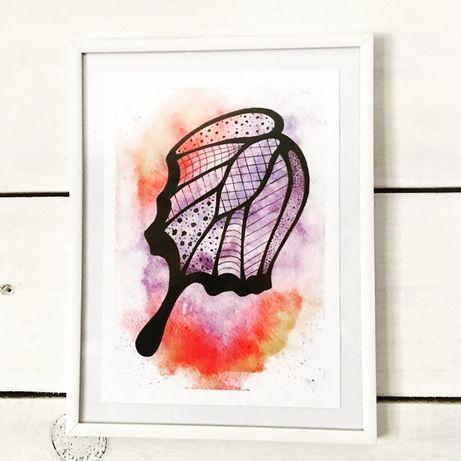 Oryginalny obraz akwarelowy - Skrzydło motyla