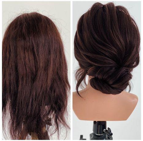 Манекен голова с натуральными волосами