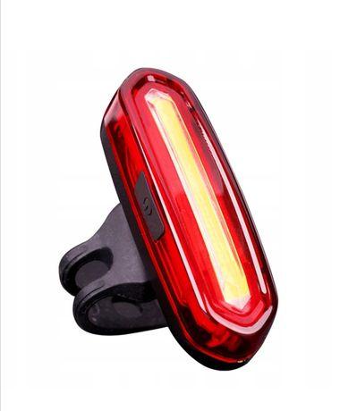 LAMPKA tylna przód ROWEROWA LED COB ładowana USB 120lm