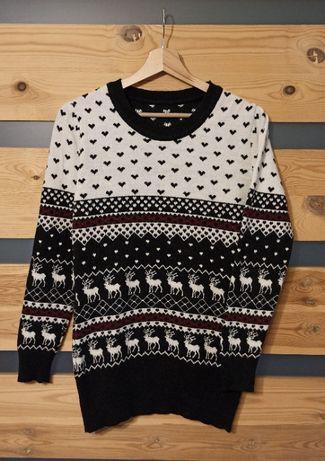 Gerekli świąteczny renifery wełniany sweter vintage retro