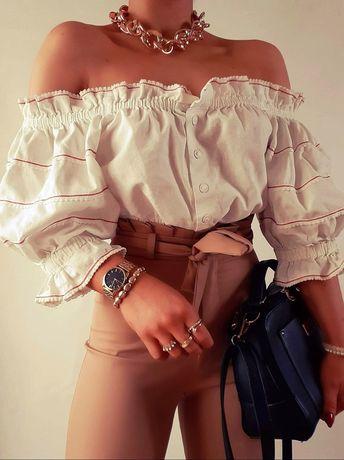 Bluzka hiszpanka biała z falbankami M