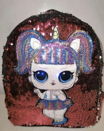 Новый рюкзак для девочки с паетками и Лол.
