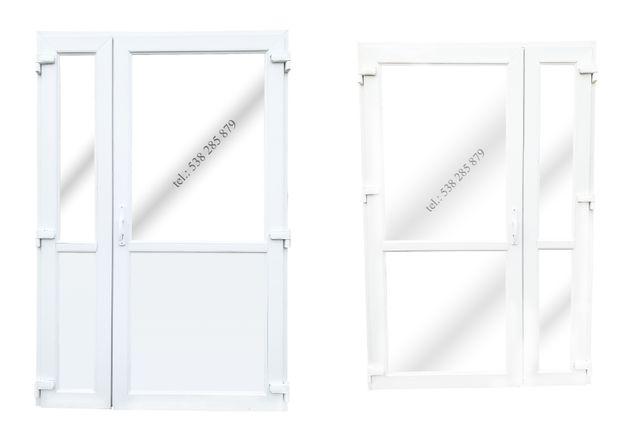 Drzwi zewnętrzne PCV 140x210 białe * SKLEPOWE BIUROWE * NOWE! od reki