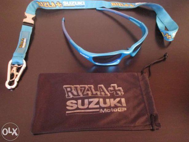 Oculos de sol MotoGP Suzuky Rizla com saco e porta-chaves