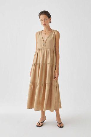 Многоярусное платье pull and bear миди  размер l в новом состоянии