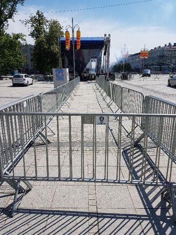 barierki ochronne lekkie i ciężkie ,ogrodzenie, słupki z taśmą wynajem