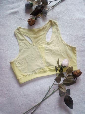 Tchibo spostowy top biustonosz miękki żółty M