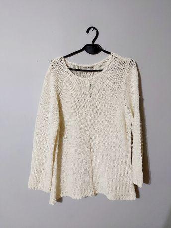 Dzianinowy Kremowy sweter XL