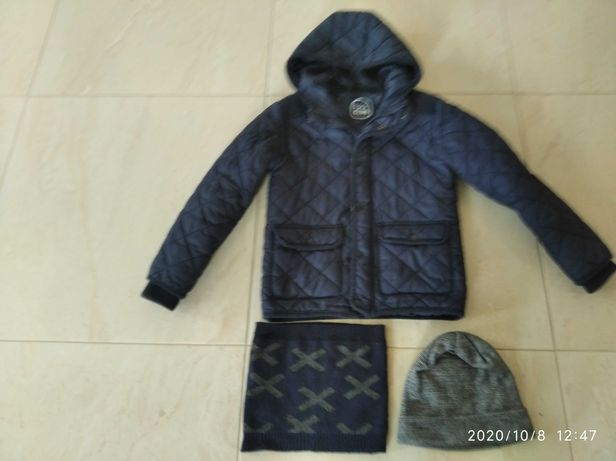 Granatowa kurtka cool club jesienno zimowa + czapka i komin