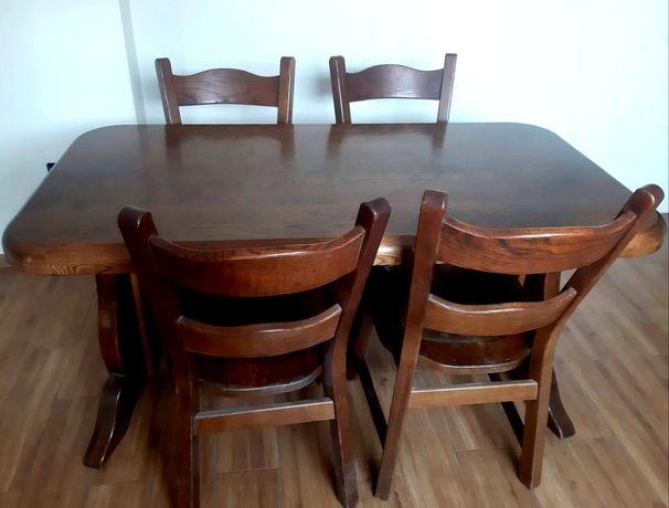 Komplet stół dębowy i krzesła